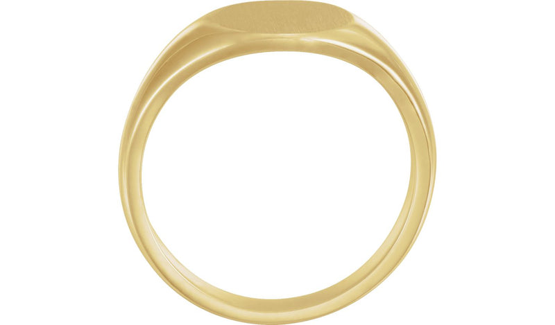 14K Yellow 12.5x10.5 mm Men's Signet Ring with Brush Finish