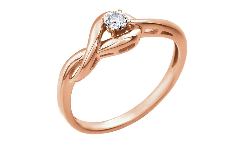 14K Rose .04 CT Diamond Ring - THE LUSTRO HUT