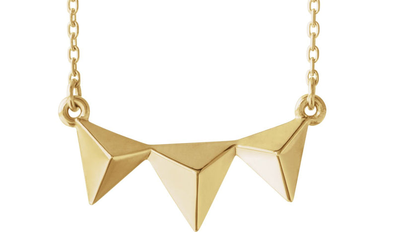 "14K Yellow Pyramid 16-18"" Necklace"