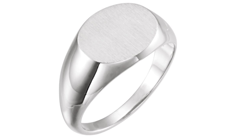 Sterling Silver Men's Oval Signet Ring