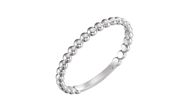 Platinum 2 mm Stackable Bead Ring - THE LUSTRO HUT