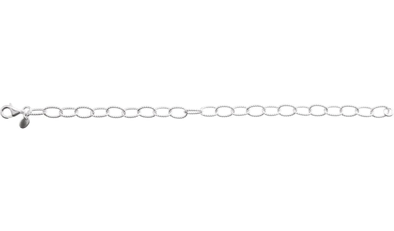 "Sterling Silver 6 mm Knurled Cable 7"" Bracelet"