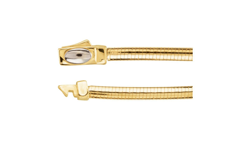 "14K Yellow & White 3 mm Two-Tone Reversible Omega 7"" Chain"