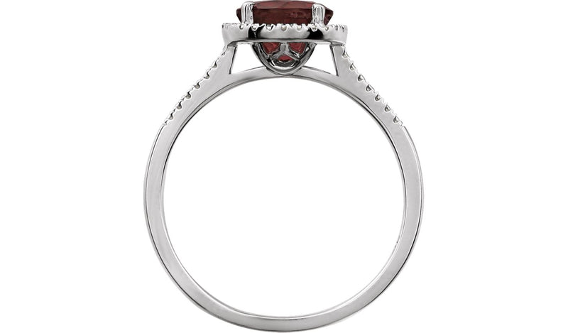 Sterling Silver Mozambique Garnet & .01 CTW Diamond Ring
