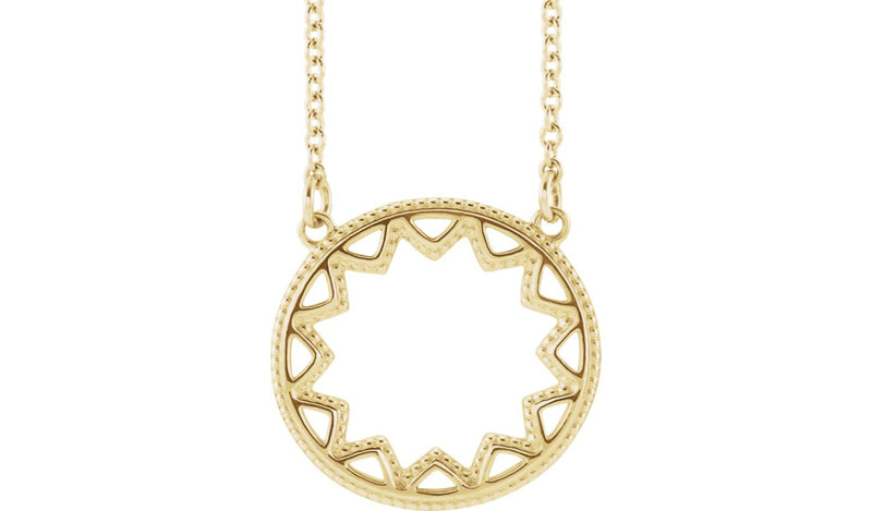 "14K Yellow Milgrain Sun 16-18"" Necklace"