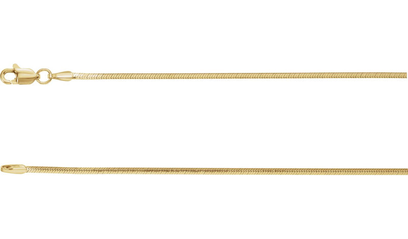 "14K Yellow 1.2 mm Square Diamond Cut Snake 18"" Chain"