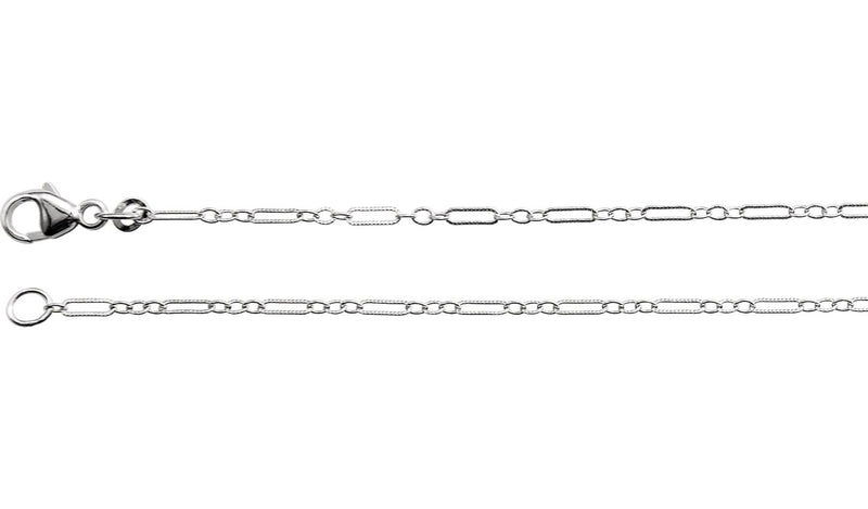 "14K White 1.6 mm Knurled Figaro 24"" Chain with Lobster Clasp"