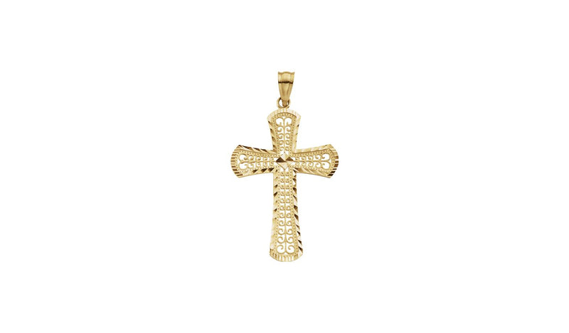 14K Yellow 33x22.5 mm Cross Pendant