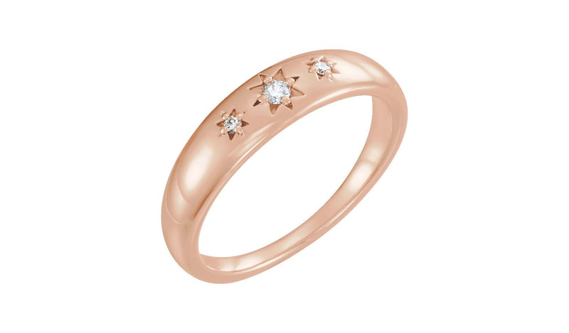 14K Rose .05 CTW Diamond Starburst Ring - THE LUSTRO HUT