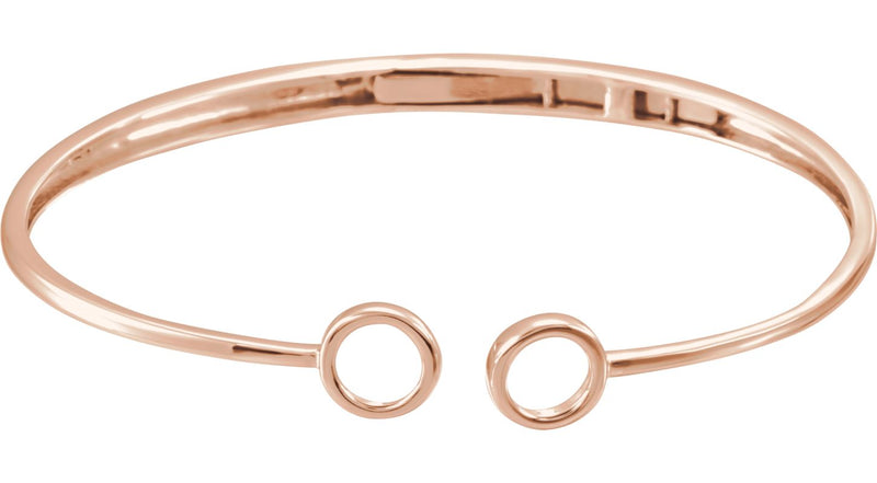 "14K Rose Gold Hinged Circle Cuff 7"" Bracelet"