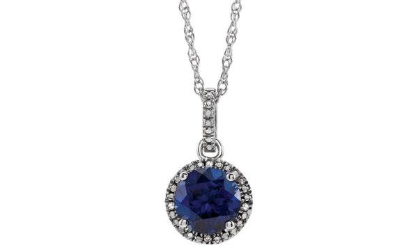 "Sterling Silver Lab-Grown Blue Sapphire & .01 CTW Diamond 18"" Necklace"