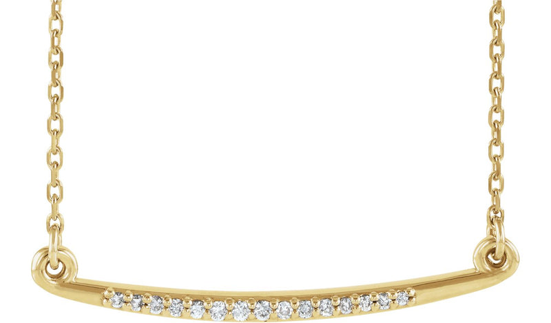 "14K Yellow .05 CTW Diamond Curved Bar 16-18"" Necklace - THE LUSTRO HUT"
