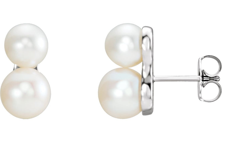 14K White Freshwater Cultured Pearl Ear Climbers