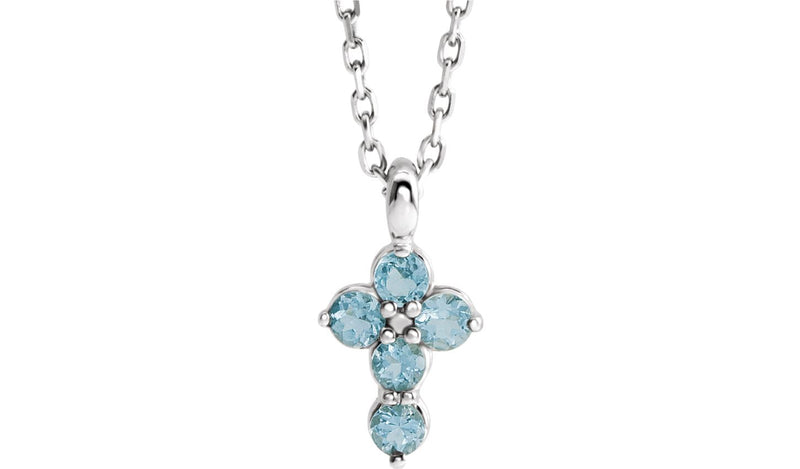 "Sterling Silver Aquamarine Cross 16-18"" Necklace"