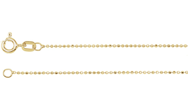 "14K Yellow Solid Diamond-Cut Bead 7"" Chain"
