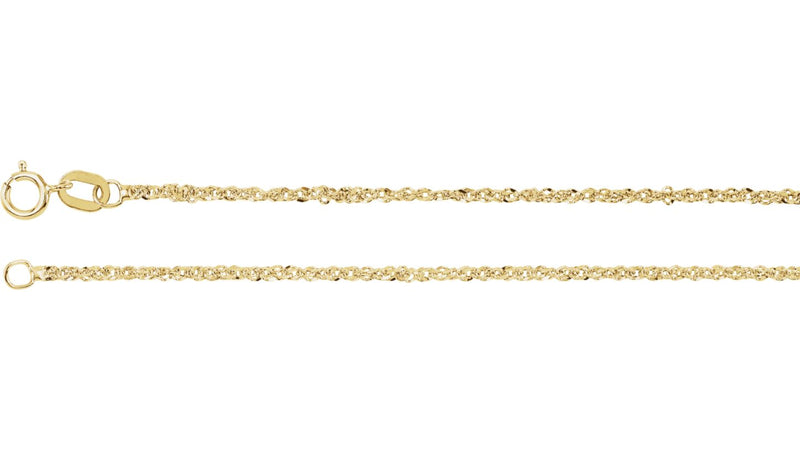"14K Yellow 1.25 mm Diamond-Cut Singapore 18"" Chain with Spring Ring"