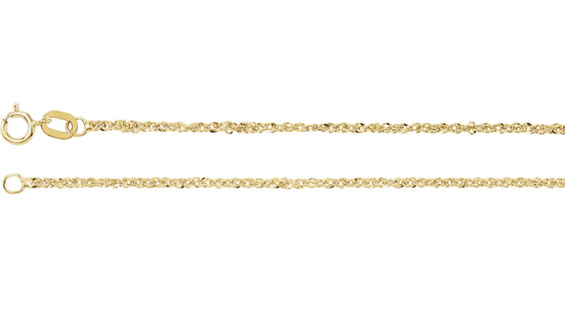 "14K Yellow Gold 1.25 mm Diamond-Cut Singapore 20"" Chain with Spring Ring"