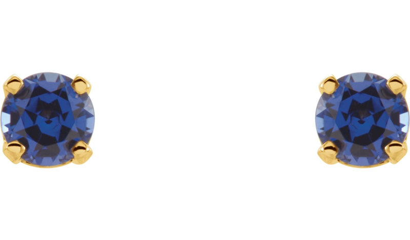 14K Yellow Chatham® Lab-Created Blue Sapphire Earrings