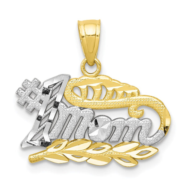 10k & Rhodium #1 Mom Charm