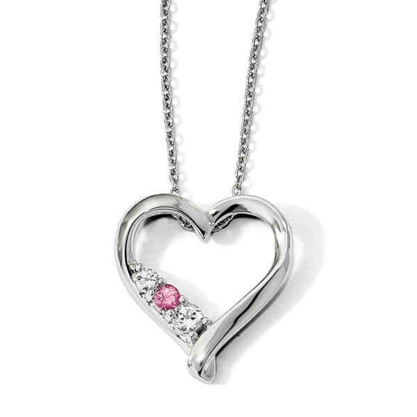 10k White Gold Survivor Clear/Pink Swarovski Topaz Jessica Necklace