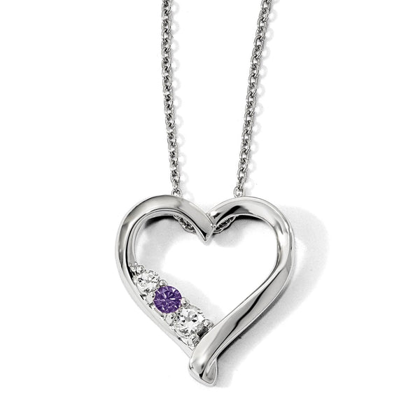 10k White Gold Survivor Clear/Purple Swarovski Topaz Jessica Necklace