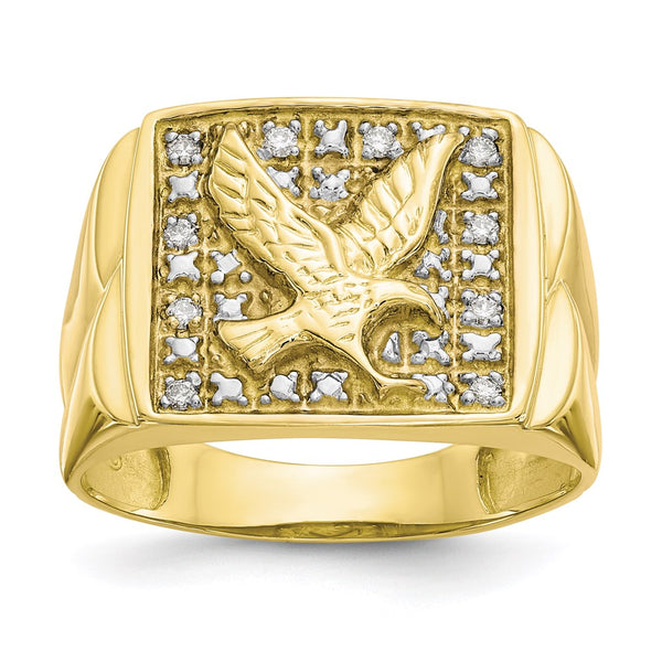 10k & Rhodium .10ct Diamond Mens Eagle Ring
