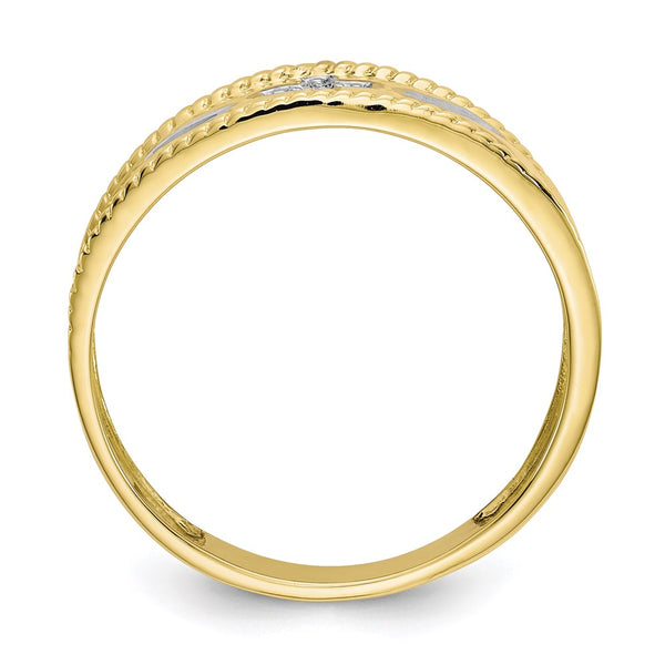 10k & Rhodium .01ct. Diamond Trio Men's Cross Wedding Band - THE LUSTRO HUT