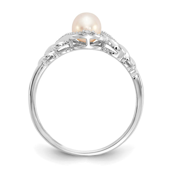 10k White Gold FW Cultured Pearl Diamond Ring