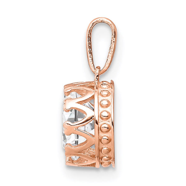 10k Tiara Collection Rose Gold Polished CZ Pendant