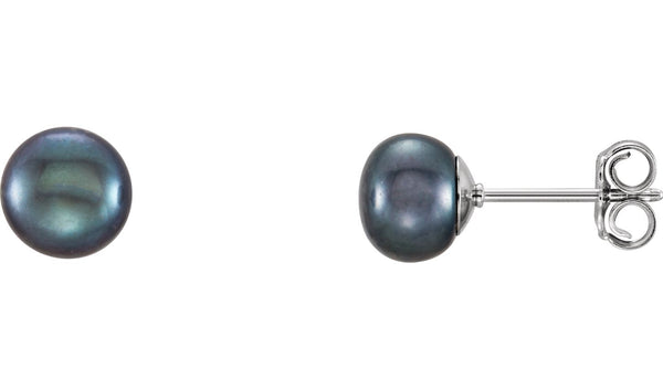 Sterling Silver 6-7 mm Black Freshwater Cultured Pearl Earrings
