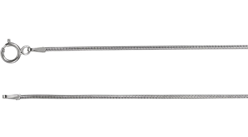"14K White Gold Solid Snake 20"" Chain"
