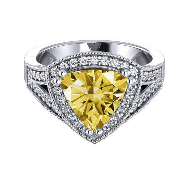 White gold 14K 2.51 carats yellow canary trillion diamond wedding ring
