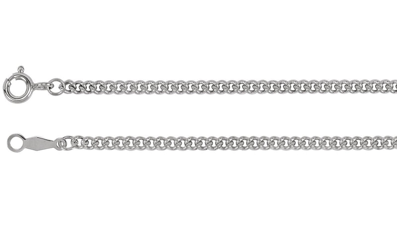 "Sterling Silver 2.25 mm Solid Curb Link 20"" Chain"