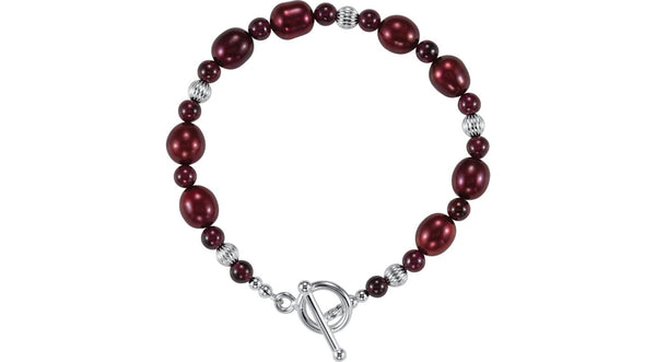 "Sterling Silver Rhodolite Garnet & Freshwater Cultured Pearl 7.5"" Bracelet - THE LUSTRO HUT"