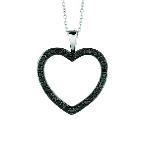 Black diamond heart pendant necklace 0.33 carats 14K White Pave