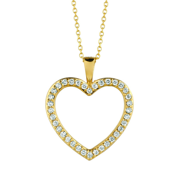 Diamond heart necklace pendant 0.33 carats 14K Yellow Pave