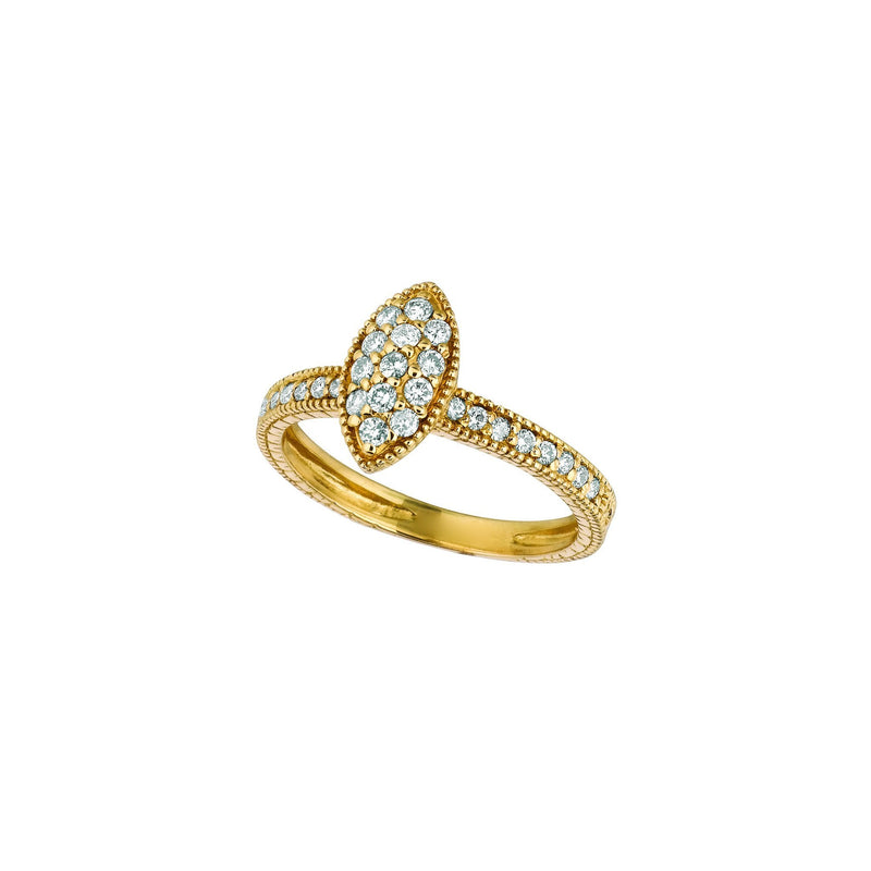 Diamond pave fancy ring 0.5 carats 14k Yellow - THE LUSTRO HUT