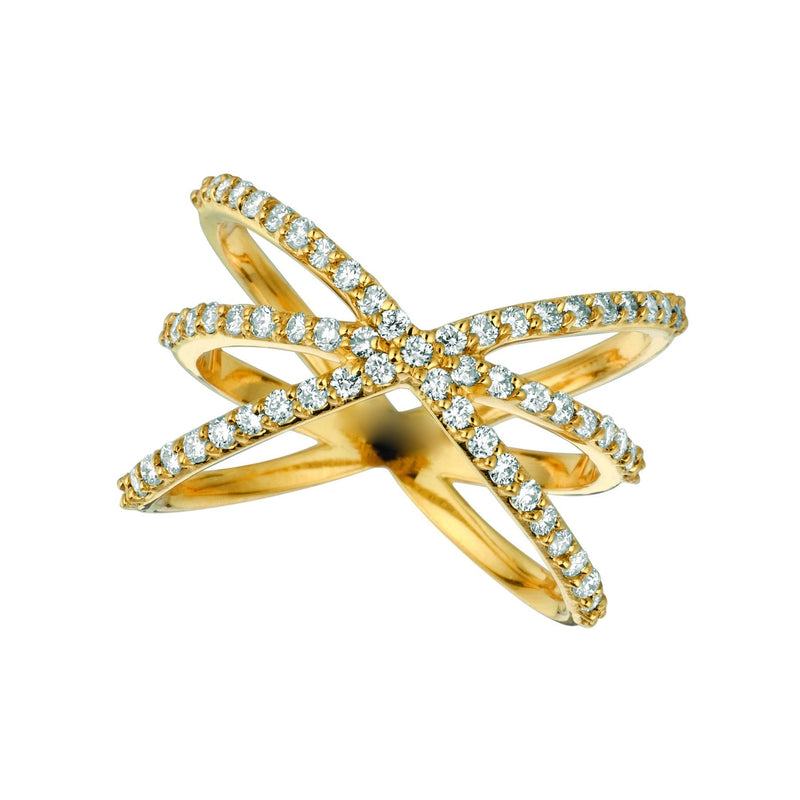 Diamond wrap ring 0.65 carats 14K Yellow Pave