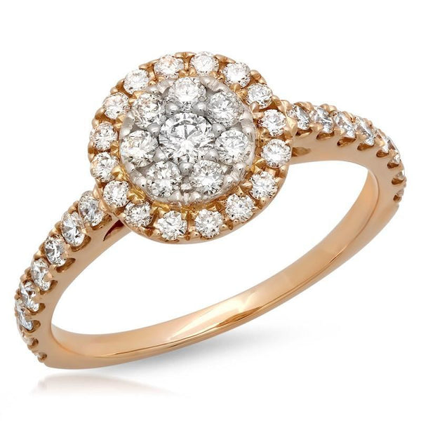 0.65 Carats diamonds women engagement fancy ring rose gold 18k jewelry