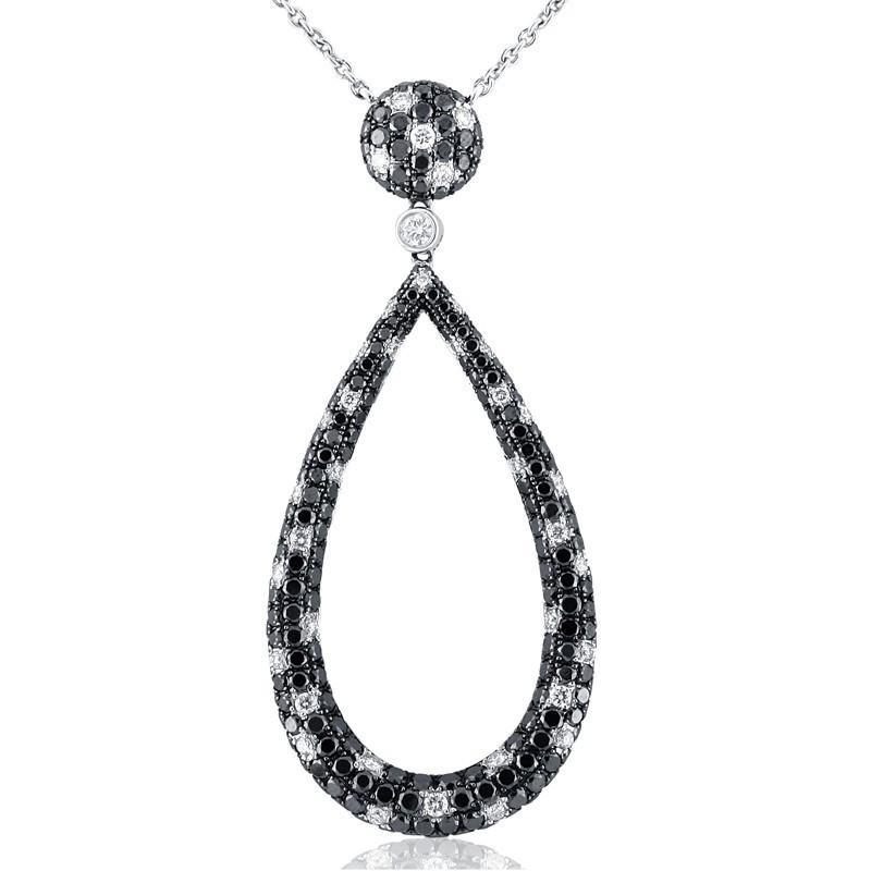 3.55 Carats black & white diamonds pendant necklace white gold 18k
