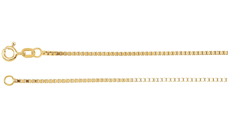 "14K Yellow 1.3 mm Diamond Cut Box 7"" Chain with Spring Ring"