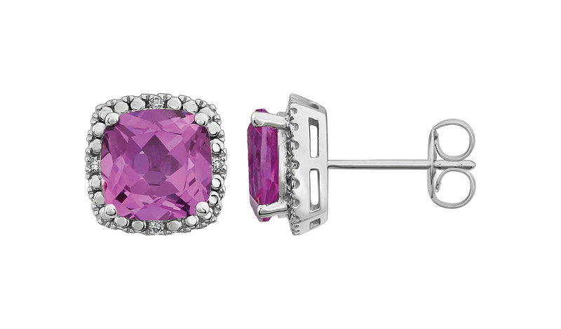 14K White Created Pink Sapphire & .06 CTW Diamond Earrings