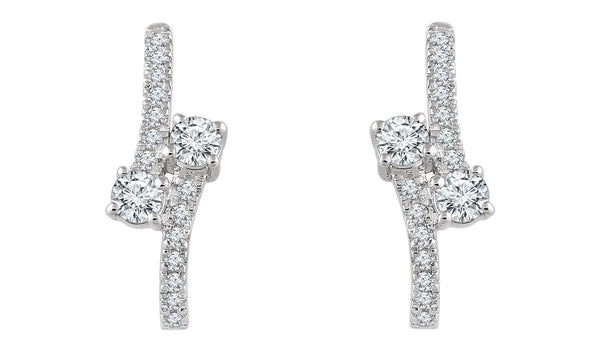 14K White 5/8 CTW Diamond Two-Stone Earrings