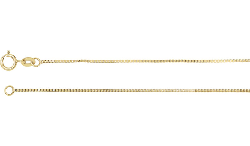 "14K Yellow .75 mm Solid Box 18"" Chain"
