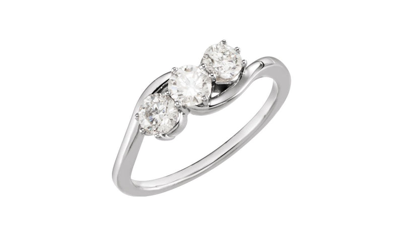 14K White 3/4 CTW Diamond Three-Stone Ring - THE LUSTRO HUT