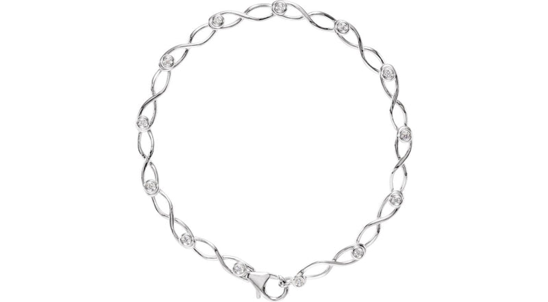 "14K White Gold 1/8 CTW Diamond 7"" Link Bracelet"