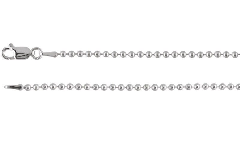 "Sterling Silver 2 mm Bead 20"" Chain"