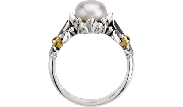 Sterling Silver & 14K Yellow White Freshwater Cultured Pearl Ring