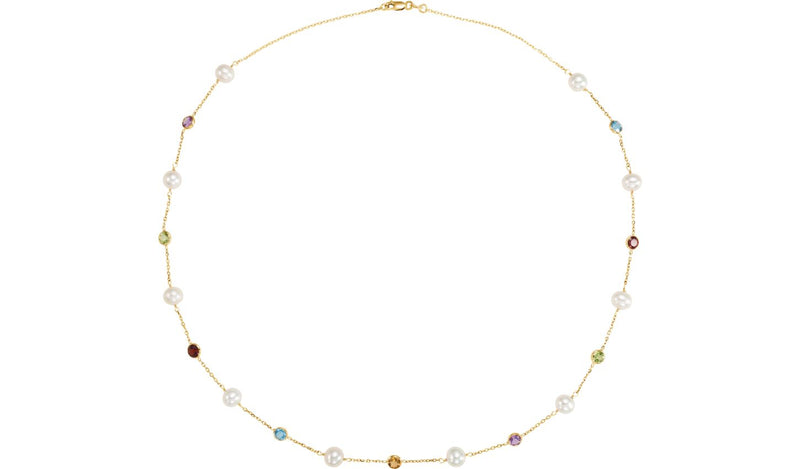 "14K Yellow Freshwater Cultured Pearl & Multi-Gemstone 18"" Station Necklace"