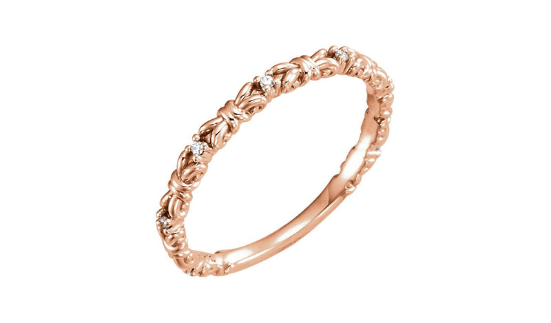 14K Rose .04 CTW Diamond Stackable Ring